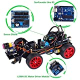 SunFounder Robotics Model Arduino Car kit Electronics DIY Smart Toys Servo Motor Uno R3 Sensor (Black Acrylic)