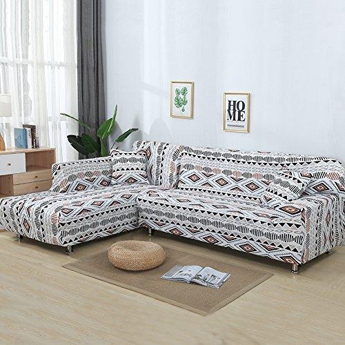 Htdirect 2pcs stretch stampato copridivano ad alta resistenza elastica in poliestere divano slipcovers + 2pcs federa per divano componibile divano angolare con antiscivolo antiscivolo 1095
