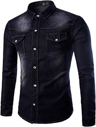 Anguang Mens Washed Buton Up Jeans Blouse Tops Collar Neck Long Sleeve Denim Shirt