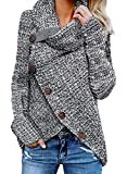 Dokotoo Femme Casual Pull à Manche Longue Sweater Simple S-XXL, Gris, S