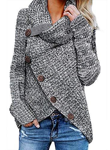 FIYOTE Damen Winterjacke Warm Strickjacke Rollkragen Cardigan Strickpullover Casual Wrap Wickel Pullover Sweater 7 Farbe S/M/L/XL/XXL, Grau, Medium(EU40-EU42)