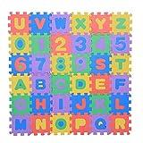 Zerodis Eva Schaum Matte Puzzlematte Kinderspielteppich Zahlen & Buchstaben Spielzeug Bodenmatten für Baby Kleinkinder 36 Stücke 12 x 12cm