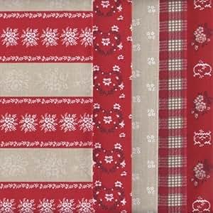 Tessuti natalizi (Rosso e ostrica perla) | Confezione di 5 pezze | 100% puro cotone | 46 x 56 cm
