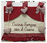 Copriforno rosso écru in cotone imbottito fantasia pois cuori tinta unita con fiocco rimovibile cm 43x35 scritta cuoca decorazione forno