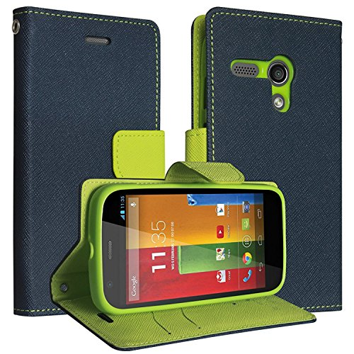 SCHOFIC Premium Fancy Wallet Diary Faux Leather Mobile Flip Case Cover [Pouch] with Card Slots [Pockets], Stand View and Magnetic Strap [Locking] for Motorola Moto G 1st Gen. - Navy Blue