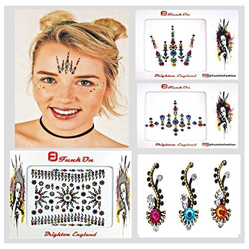 5e3595886 FACE GEM, Juego de 4 piezas de Rainbow - Gema de diamante de imitación  BINDIS-Huge BINDI Pack-FESTIVAL FACE JEWELS-Face Stickers-CRYSTAL  HEADPIECE-Body ...