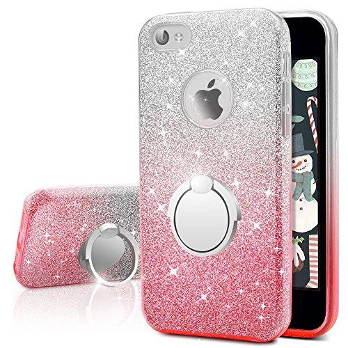 Cover iphone 4s, cover iphone 4, miss arts custodia glitter di in morbido tpu con interno in policarbonato ultra resistente, supporto rotazione a 360 gradi per apple iphone 4s/4 -ombra rosa