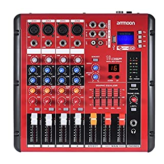 ammoon Digitale Bluetooth 4-Kanal Mic Line-Audio-Mixer Mischpult 2-Band EQ mit 48V Phantomspeisung USB-Schnittstelle für die Aufnahme DJ Bühne Karaoke Music Appreciation