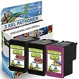 Premium 3er Set kompatible Tintenpatronen als Ersatz für HP 301 XL Druckerpatronen für Deskjet 1000 1010 1510 1050 2514 2510 2542 2540 2544 2550 2050 3000 3050A 3057A 3059A 2050A 1055 Patronen (Schwarz , Farbig) 2x301b-1x301c-hp