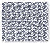 OYSTER Maus Pad, ocean inspiriert Artwork Seashell Muscheln mit Muscheln Spirale Formen und Streifen, Maritime Standard Größe Rechteck rutschfeste Gummi Mauspad, indigo und weiß