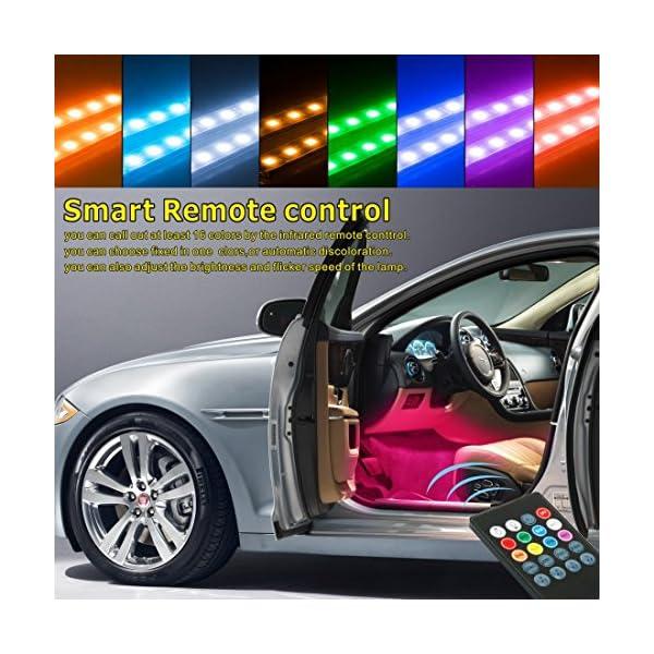 Set di 4 strisce luminose per auto con controllo sonoro 2 x 60 cm + 2 x 90 cm kit di illuminazione d/'atmosfera per esterni