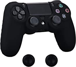 Pandaren® Silikon hülle skin Schutzhülle für PS4 controller (Schwarz) x 1 + thumb grip aufsätze x 2