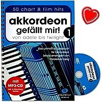 """Accordéon """"J'aime bande 1–Ultime jeu livre (légèrement ARRANGIERT) de Waldemar Long–Avec CD et coloré Cœur Note Pince"""