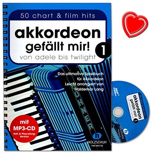 Akkordeon gefällt mir Band 1 - ultimative Spielbuch (leicht arrangiert) von Waldemar Lang - mit CD und bunter herzförmiger - Edge Head Bed