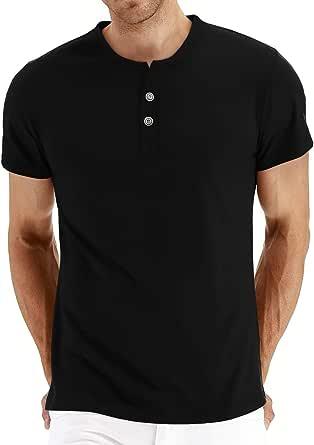 AIYINO Mens Casual Slim Fit Basic Henley Shirt Long/Short Sleeve Fashion T-Shirt