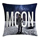 Doormat-bag Outer Space Decor Throw Pillow Cushion Cover, Miniature Toy Astronaut on Foreground of Giant Moon Big Bang Mars Print, Decorative Square Accent Pillow Case,Grey Blue 18X18 inches