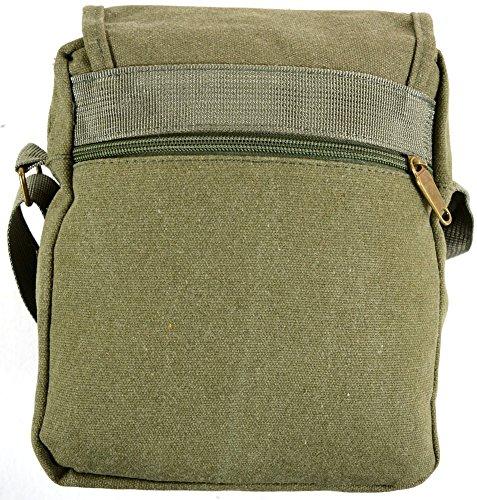 """Unisex da viaggio/Lavoro Tela Borsa a tracolla stile """"Piccolo Messenger (Nero, cachi, verde, marrone, grigio) Olive Green"""