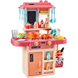 Toyvian Plastic Pretend Play Kitchen Toys with Realistic Light Sounds Kids Kitchen Utensils Cookingware Set (Pink without Bat