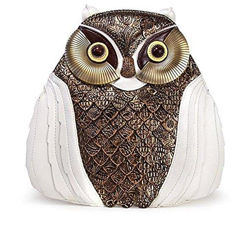 Eulen-Leder-Rucksack-Handtaschen-Handbuch-Art- und Weisefrauen-Tierdame-Beutel-vorzügliche Retro- Tote-Schule-Beutel , Weiß (Tote Kunststoff Handtasche)