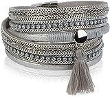 styleBREAKER Vintage Wickelarmband mit Strass, Quasten Anhänger und Ketten, 3-Reihig, Armband, Damen 05040027, Farbe:Antik-Silber