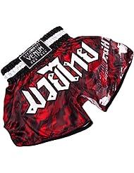 Venum Tecmo Pantalones Cortos de Muay Thai, Hombre, Camuflaje Rojo, XS