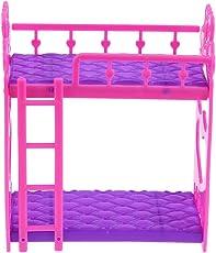 Zibuyu Unisex Plastic Cute Dolls House Furniture Bunk Bed - 7 Pieces