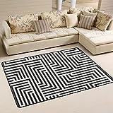 coosun schwarz und weiß Zickzack Muster Bereich Teppich Teppich rutschfeste Fußmatte Fußmatten für Wohnzimmer Schlafzimmer 91.4 x 61 cm, Textil, multi, 36 x 24 inch