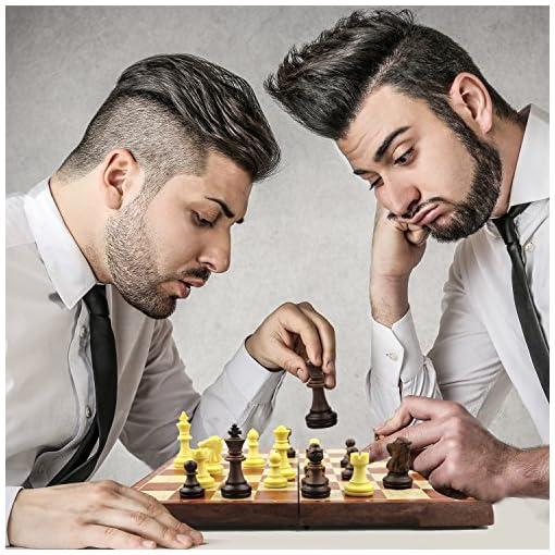 CRMICL-Schachspiel-Damespiel-Backgammon-Deluxe-Schach-mit-Magnetischem-Faltbarem-Schachbrett