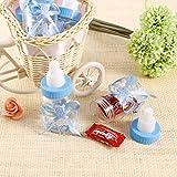 Syoo 24 x Blau Baby Junge Süßigkeiten Flasche Geschenkbox zum Taufe Babyparty Babyshower Kinderparty Garten Party Gastgeschenk