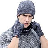 Tuopuda® Wintermütze Herren Damen Mütze Touchscreen Handschuhe Beanie Warme Mütze Strickmütze Winterschal Herren mit Fleecefutter (grau)