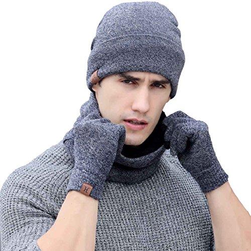 Tuopuda® Gorro Bufanda Guantes Set de Invierno para Hombre y Mujer Gorro de punto Bufandas Caliente Guantes de Pantalla Táctil (gris)