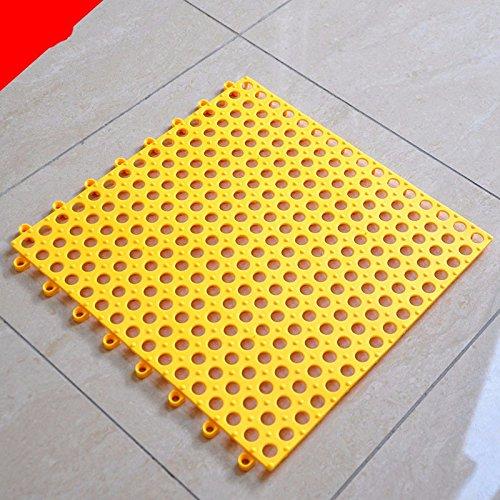 Sala da bagno antiscivolo matting tappeto bagno vasca doccia piede bagno wc cucitura base antiscivolo 30 completamente piastrellata×30cm (6 chip con fori tondi), giallo, 6 blocco
