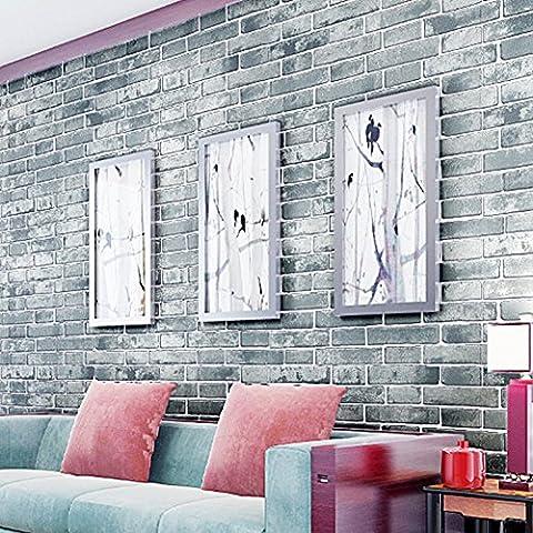 Fausse brique moderne 3D Wallpaper Pierre murale MUR Chambre Salon rouleau arrière-plan, vert DHY