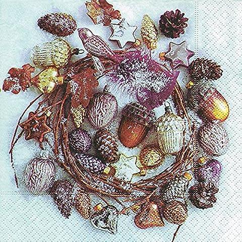 Lunch Servietten Serviette 33 x 33 cm (Decorated wreath) Dekoration