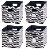 homyfort 4 Stück Faltbare aufbewahrungsbox stoffbox faltbox mit Kunststoffgriff 30 x 30 x 30 cm Grau/Weiß Zickzack XBB04P