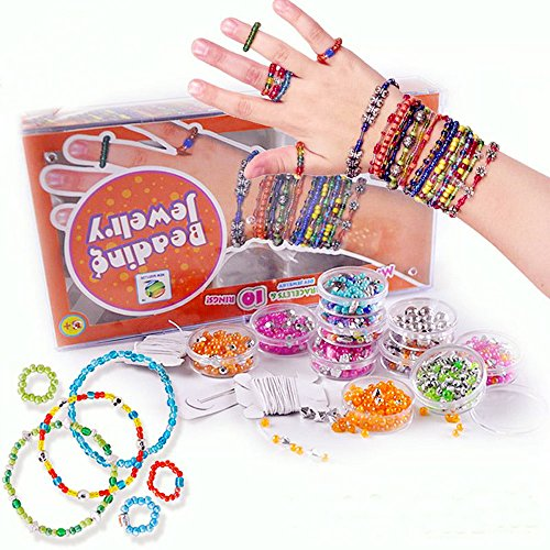 SKJIND Kids DIY Beads for Jewelry Making Kit,Bead Toy Girls Crafts ages 8-12,Make 30 Bracelets 10 Ring Your Own