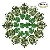 PROKTH 24 Stück Tropische Künstliche Blätter,Palmblätter und Blumen Dschungel Strand Thema Party Hochzeit Dekorationen Tischdekoration