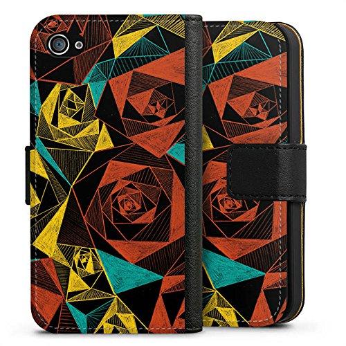 Apple iPhone X Silikon Hülle Case Schutzhülle Rosen Muster Rose Sideflip Tasche schwarz