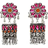 Yellow Chimes German Silver Oxidised Floral Designer Pink Stone Studed Traditional Jhumka Earrings by Yellow Chimes Jhumki Ea