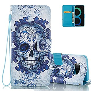 Aeeque Galaxy S8 Fold Wallet Cover, Unique Blue Skull Pattern and PU Leather Stand Flip Phone Case for Samsung Galaxy S8 5.8