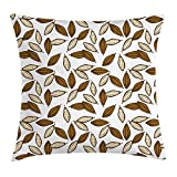 VICKKY Brown and Ivory Throw Pillow Cushion Cover, Cocoa Beans Pattern Exotic Tropical Food Tasty Chocolate Ingredient, Decorative Square Accent Pillow Case, 18 X 18 Inches, Brown and Ivory