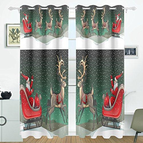 COOSUN Santa Schlitten und Rentiere Blackout Vorhänge Verdunkelung thermische isoliert Polyester Tülle Vorhang Vorhang für Schlafzimmer, Wohnzimmer, 2 Panel (55 x 84 l Zoll) -