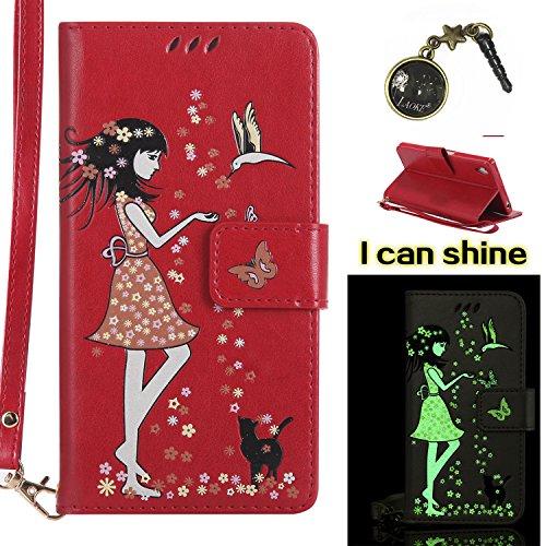 Xperia Z5 Hülle Flip-Case Premium Kunstleder Tasche im Bookstyle Klapphülle mit Weiche Silikon Handyhalter Lederhülle für Sony Xperia Z5 Luminous Mädchen Katze case Hülle +Stöpsel Staubschutz (8) 5