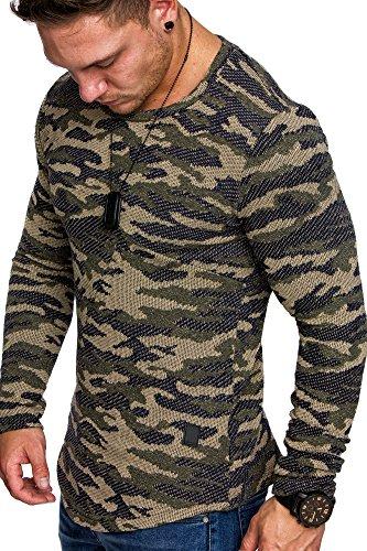 Amaci&Sons Camouflage Oversize Vintage Herren Pullover Hoodie Sweatshirt Crew-Neck 6016 Camouflage Khaki M
