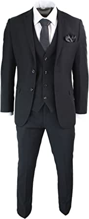 Paul Andrew Mens 3 Piece Black Tailored Fit Complete Suit Classic Door Man Mourning Funeral