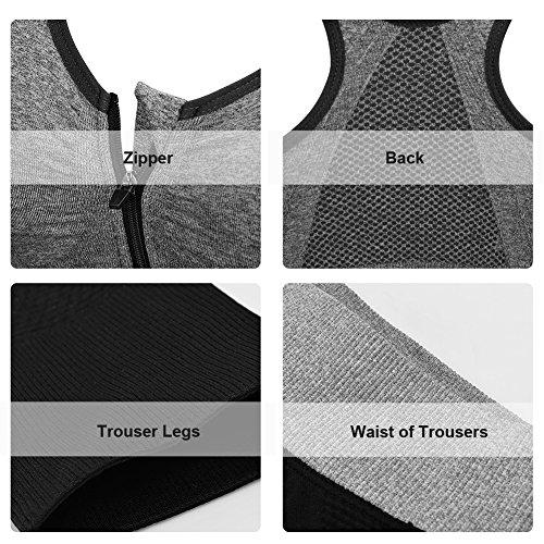 Fitibest Vestiti Sportivi di Ottima Qualità, Reggiseno Sportivo e Pantaloni per Yoga, Vestiti per Fitness e Palestra, Tessuto Traspirante Grigio