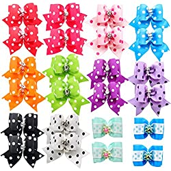 color al azar BIPY paquete de 100 unidades Lazos para el pelo de perro surtido de accesorios para el pelo con bandas de goma para perros y gatos grandes y peque/ños
