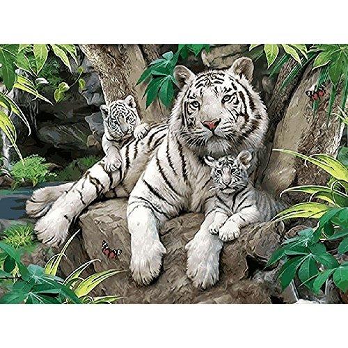 Kleine Weiße Tiger Tier DIY Digitale Malen Nach Zahlen Moderne Wand Kunst Leinwand Gemälde Einzigartiges Geschenk Home Decor ()