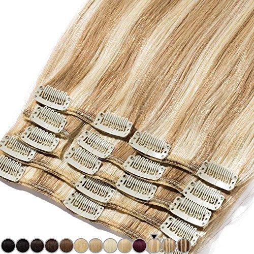 Extension clip capelli veri mèches 8 fasce 100% remy human hair testa piena xl set lisci lunga 25cm pesa 75grammi, 12# marrone chiaro mix 613# biondo chiarissimo