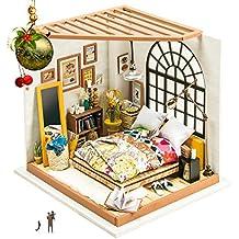 Robotime Dormitorio de madera - Muñecas Casa de muebles y accesorios - Construcción de rompecabezas Kit de construcción de madera - DIY Miniatura Adorable House - Regalo creativo para las niñas